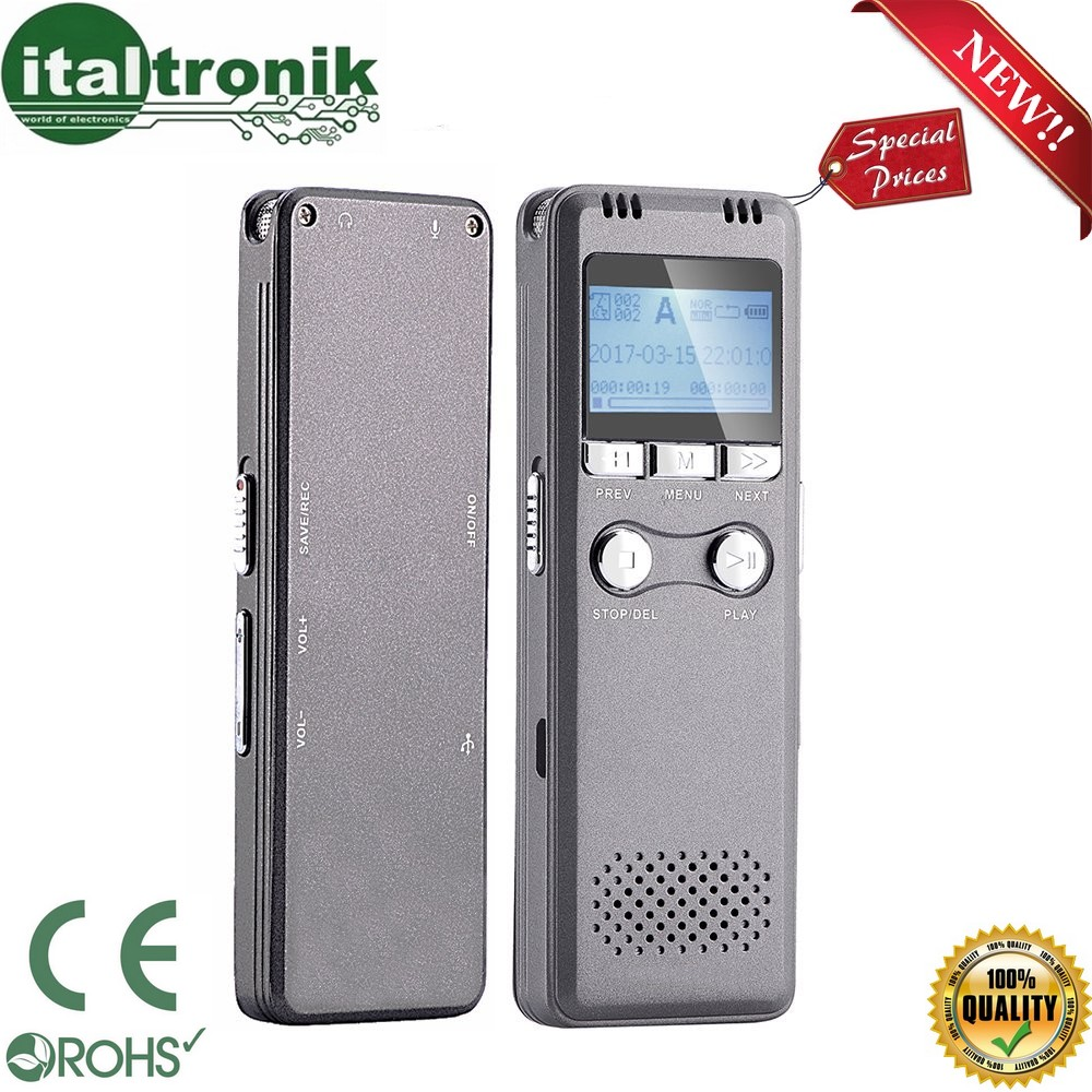 REGISTRATORE PROFESSIONALE VOCALE 8GB SPY SPIA DIGITAL VOICE RECORDER AMBIENTALE